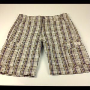 Levi's Plaid Cargo Shorts Sz 38 Brown Tan